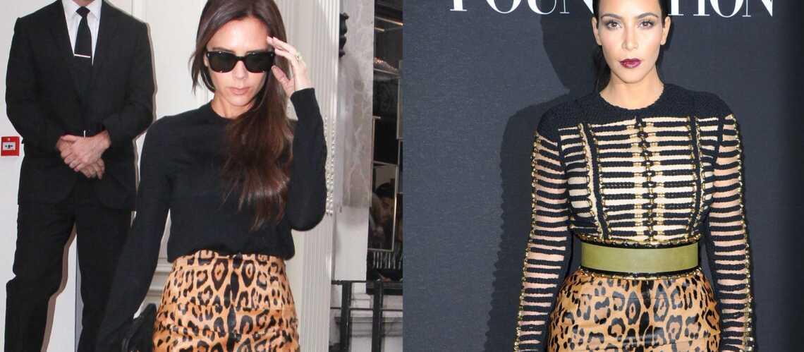 Match mode: Victoria Beckham et Kim Kardashian, une affaire de jupe léopard