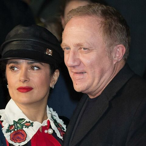 """PHOTOS -Salma Hayek et son mari François-Henri Pinault: deux looks opposés à la première de """"I am Bolt"""""""