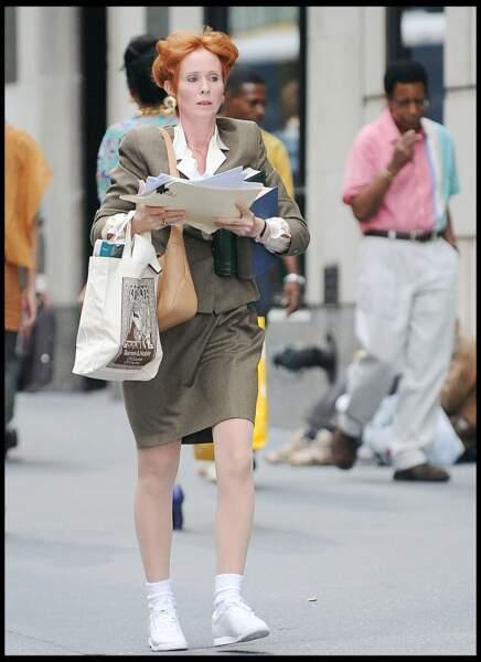 Cynthia Nixon en plein tournage