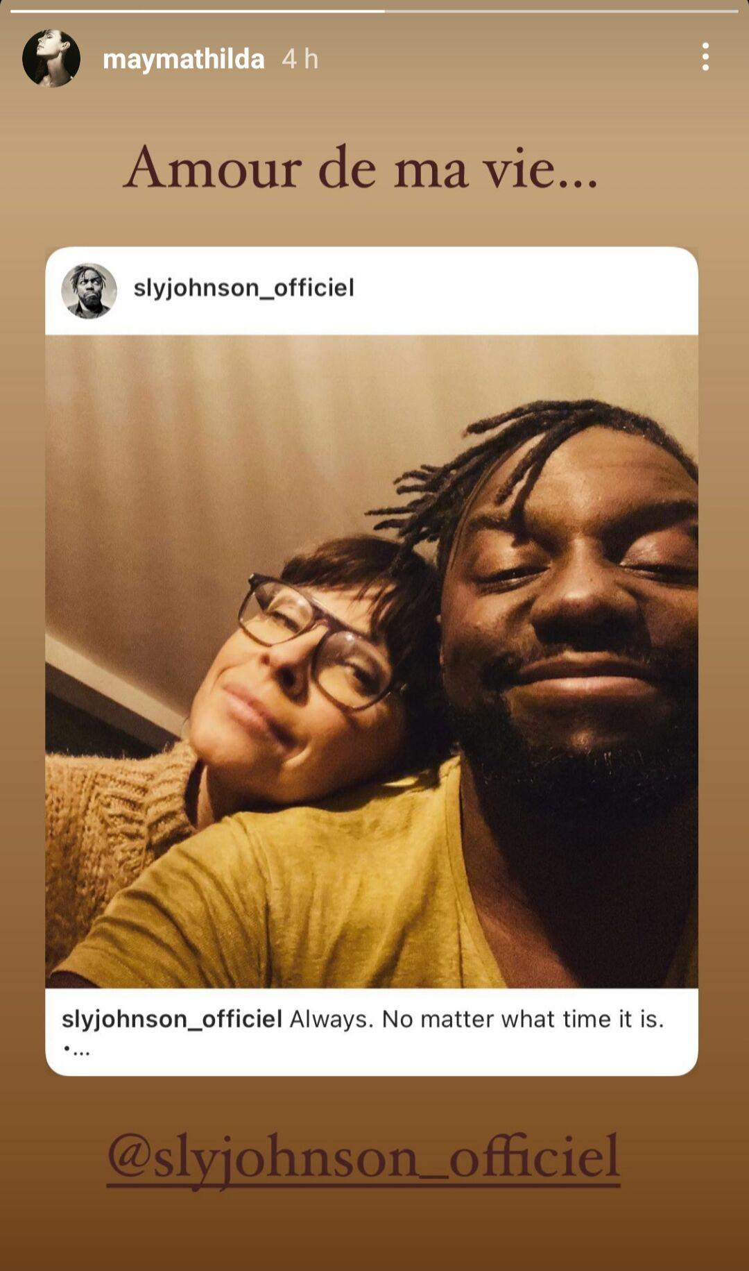 Story Instagram de Mathilda May, ce 13 janvier 2021.