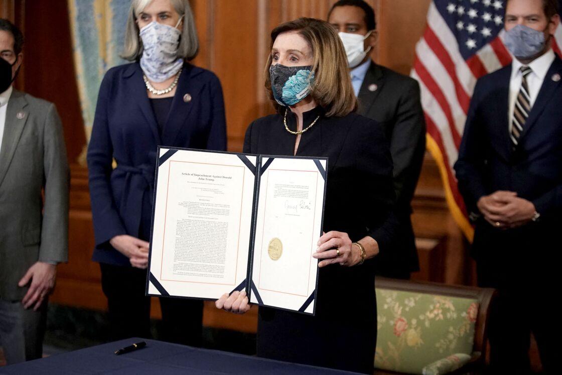 Nancy Pelosi, présidente de la Chambre des représentants américaine, lors du vote et de la déclaration de la destitution de Donald Trump, ce mercredi 13 janvier 2021
