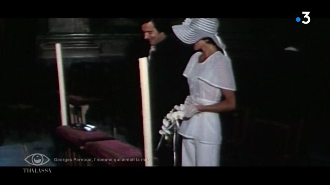 Georges Pernoud et sa femme Monique lors de leur mariage en 1973