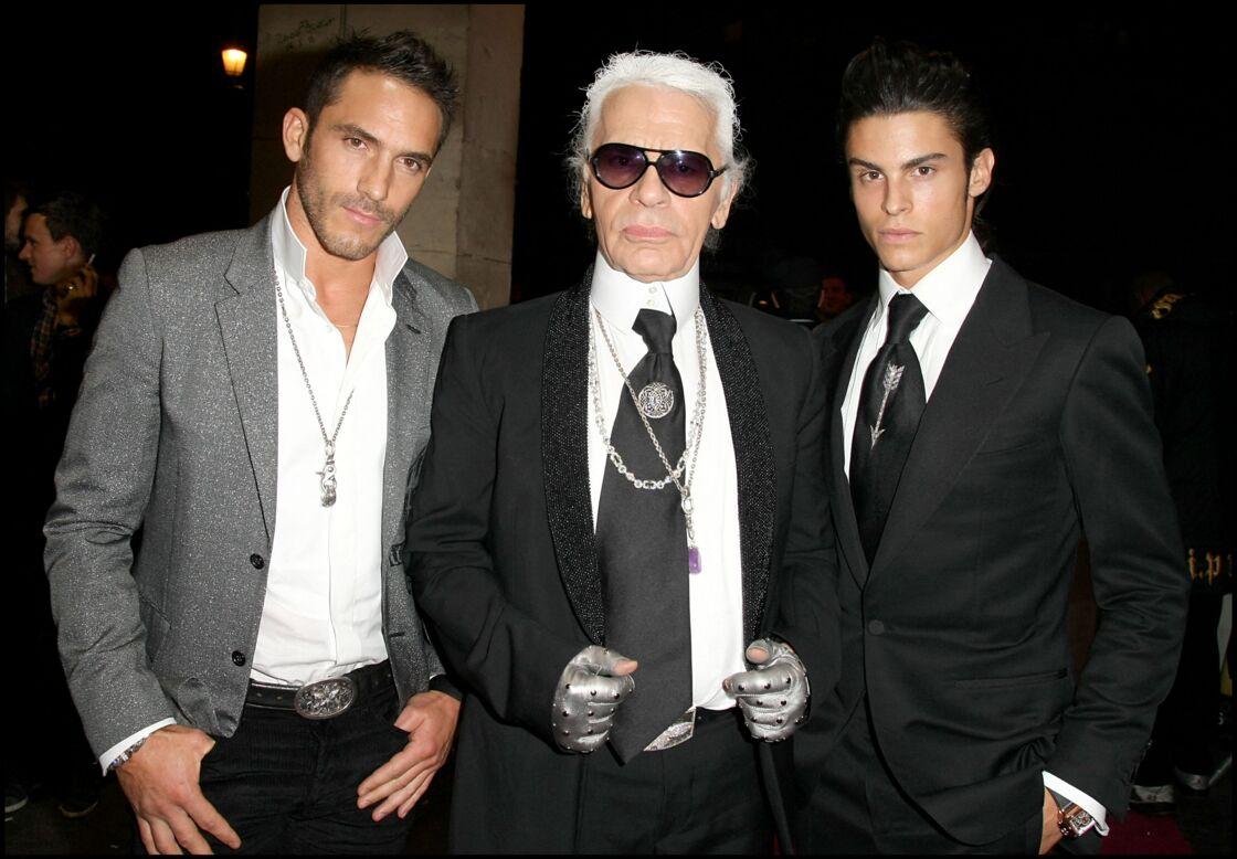 Sébastien Jondeau, Karl Lagerfeld et Baptiste Giabiconi au VIP Room le 6 octobre 2009