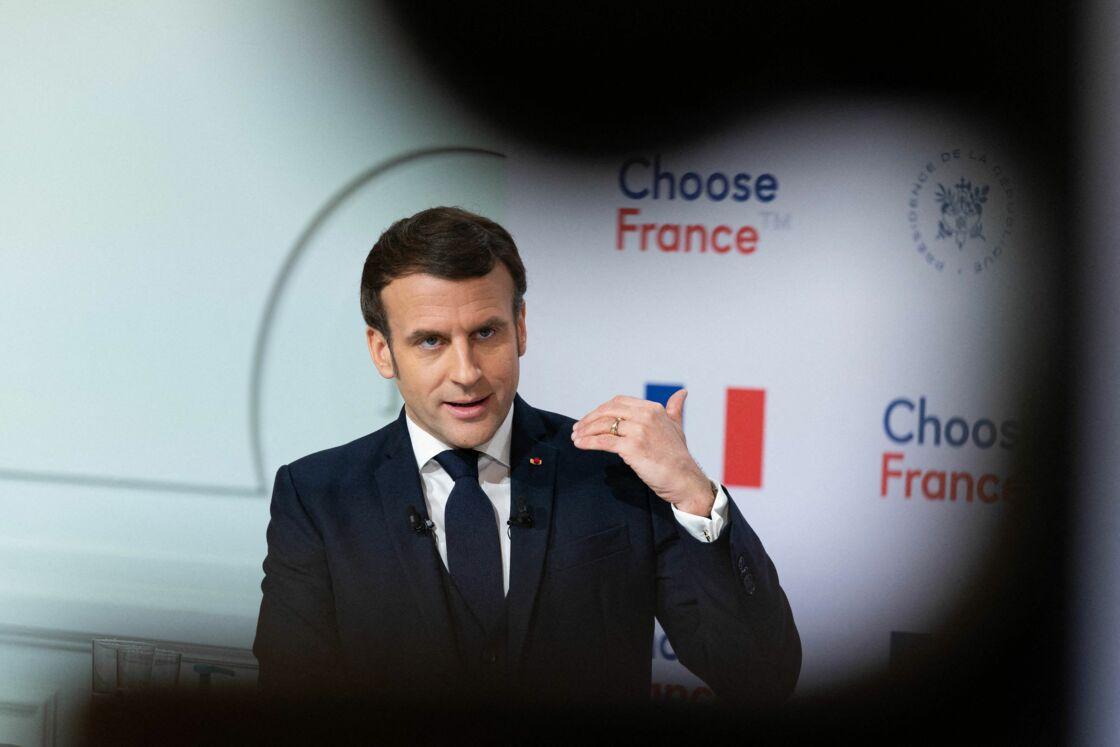 Le président Emmanuel Macron préside le sommet Choose France en visioconférence avec les dirigeants des grands groupes étrangers le 25 janvier 2021