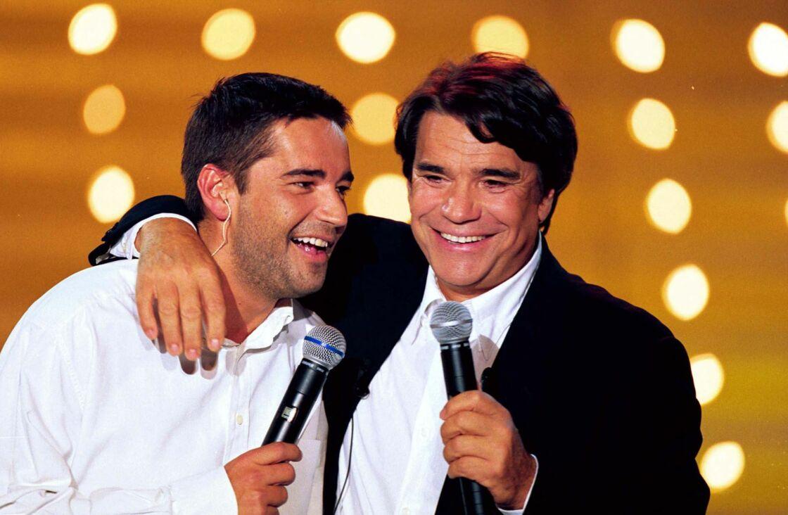 Bernard Tapie et son fils Stéphane, complices, dans l'émission Vivement Dimanche, en septembre 1999.