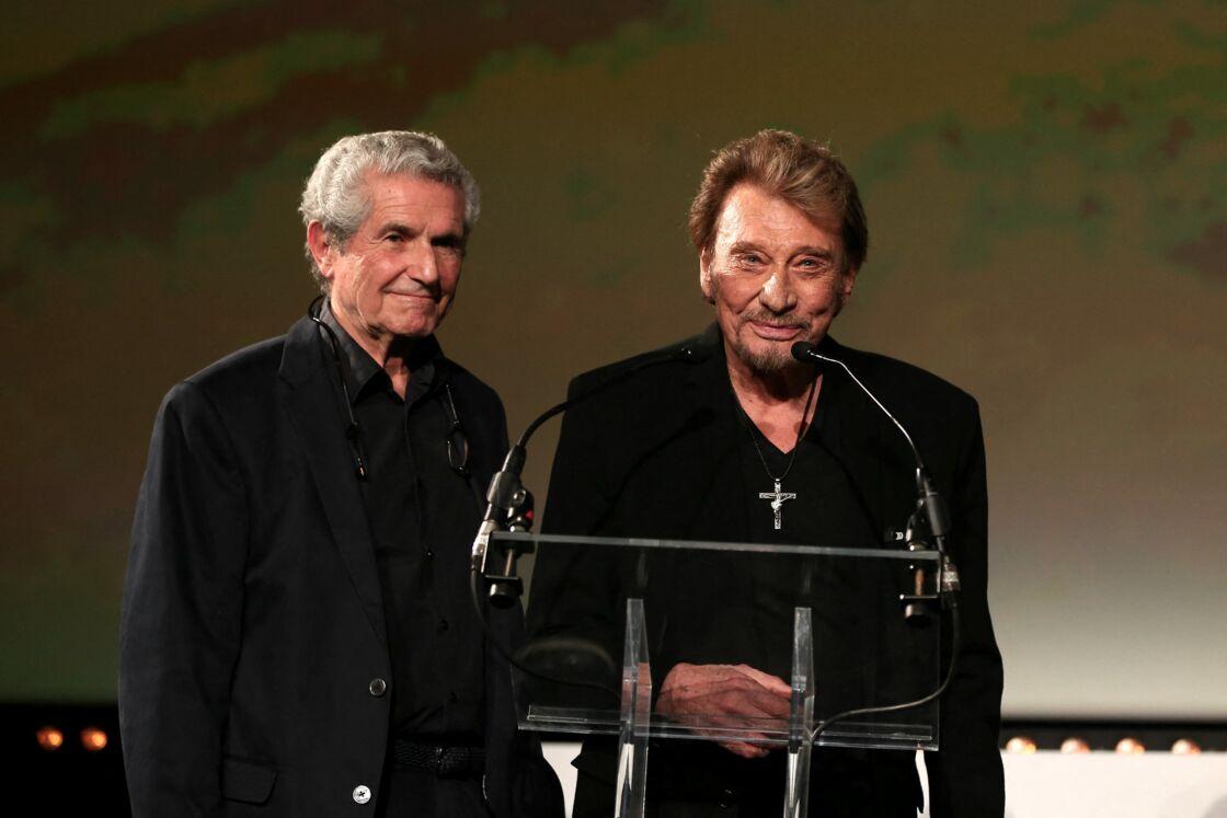 Claude Lelouch et Johnny Hallyday à la soirée d'ouverture du Festival International du Film Policier de Beaune en 2014