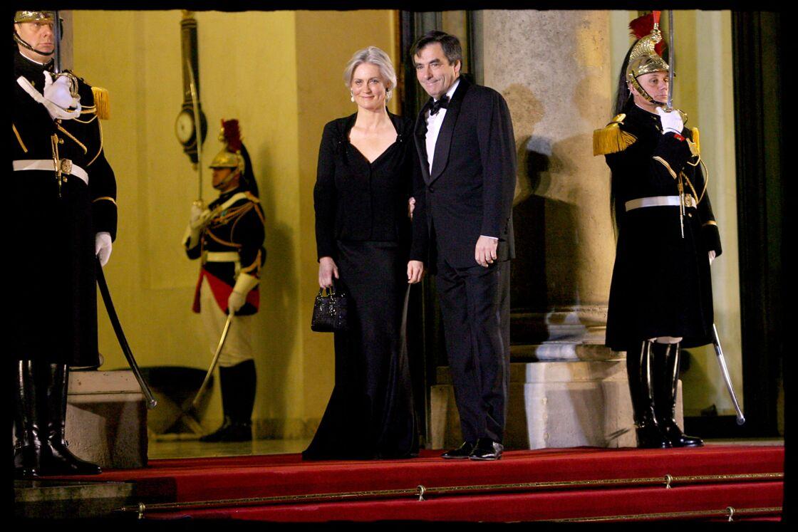 Penelope et François Fillon au palais de l'Élysée le 10 mars 2008