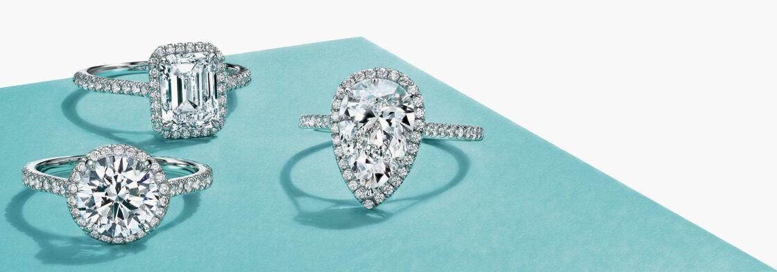 De gauche à droite : un diamant taille brillant, émeraude et poire.