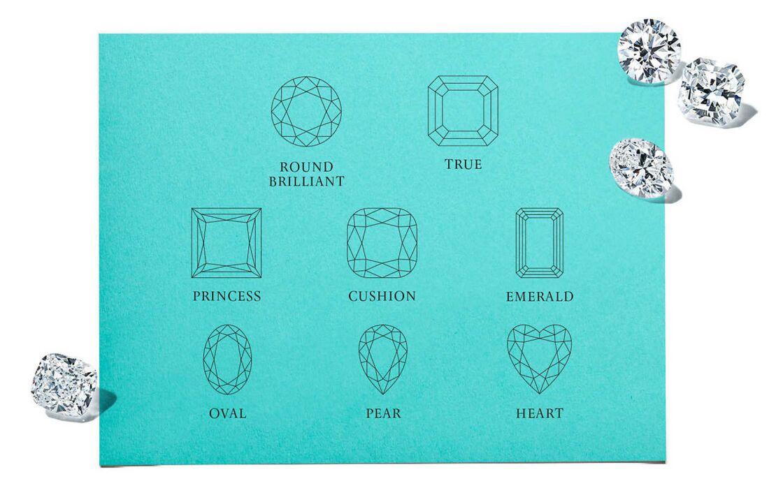 Il existe chez Tiffany and co les sept formes classique de diamant ajoutées à la forme True, sa signature.