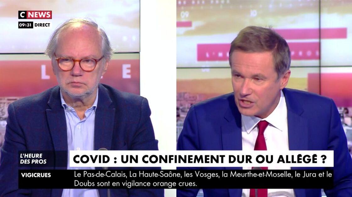 Laurent Joffrin et Nicolas Dupont-Aignan sur CNews, le 29 janvier 2021.