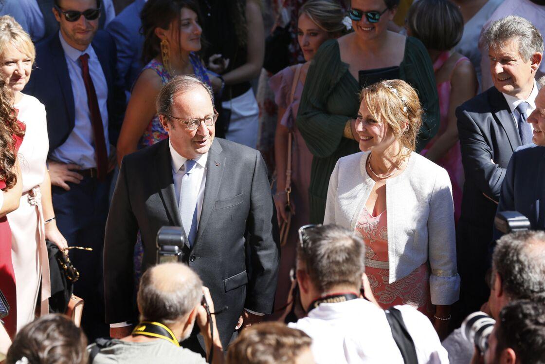 François Hollande et Ségolène Royal au mariage de leur fils Thomas le 8 septembre 2018 en Corrèze