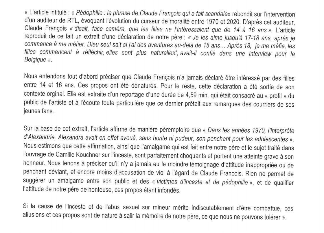 Droit de réponse de Claude François Jr et Marc François