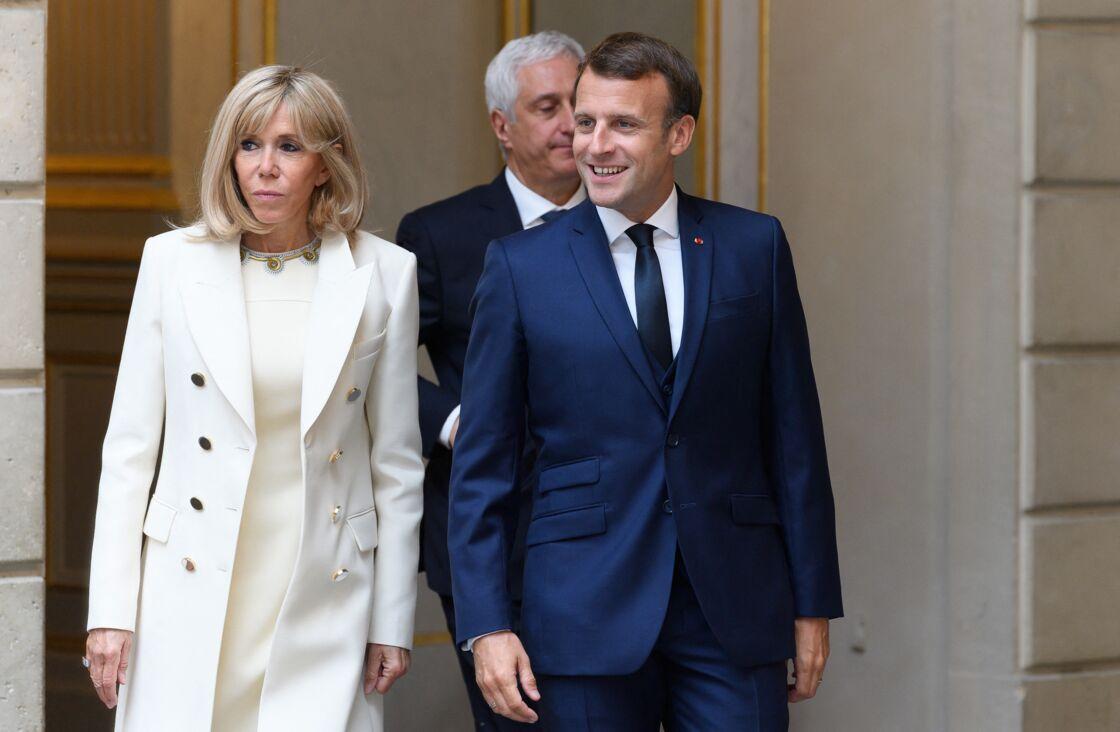 Brigitte et Emmanuel Macron le 1er mai 2020 au palais de l'Élysée