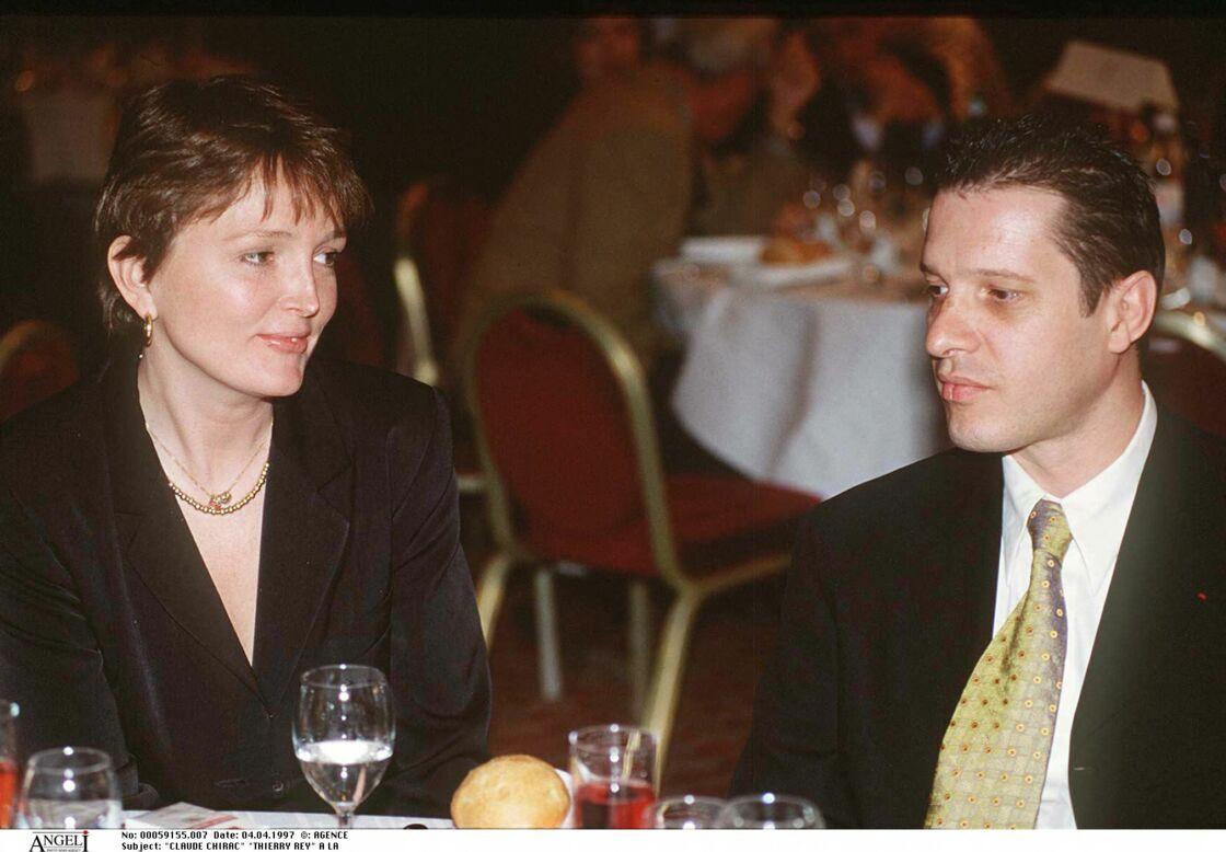 Claude Chirac et Thierry Rey le 4 avril 1997 à l'hôtel Concorde Lafayette à Paris