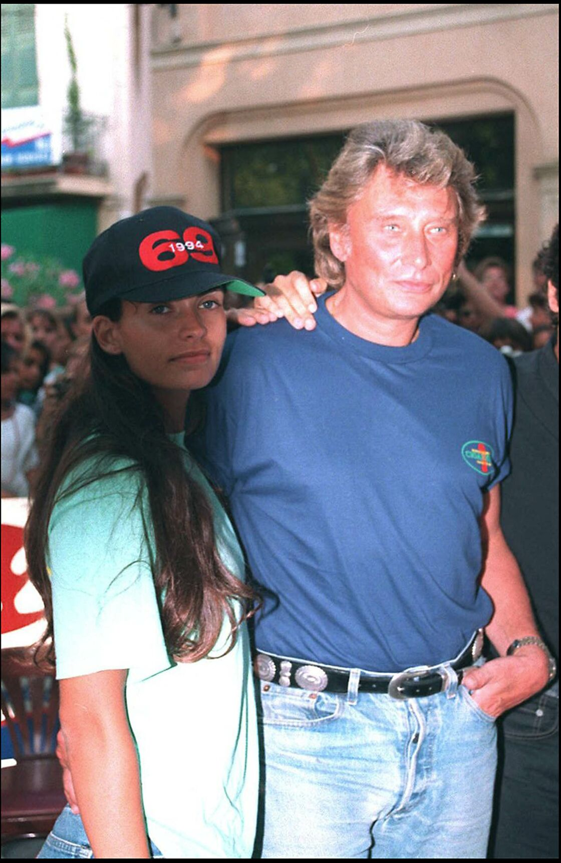 Johnny Hallyday et Adeline Blondieau à Saint-Tropez, en 1994