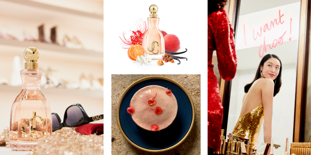I Want Choo, un parfum pétillant, gourmand et ultra féminin, réinterprété ici dans un dessert par le chef Pierre Chirac.