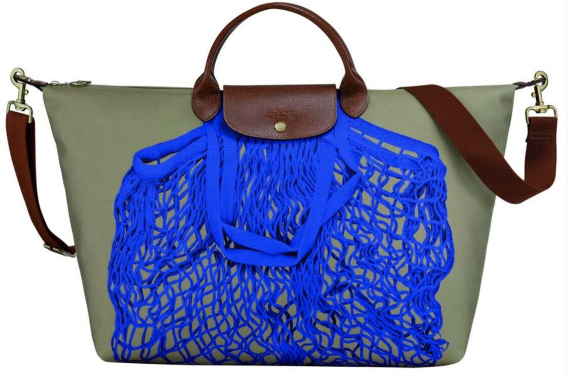Filet en trompe l'oeil, sac Pliage en polyester et cuir, 230 €, Longchamp.