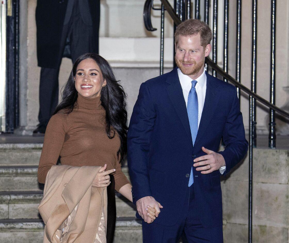 Meghan Markle et le prince Harry à la Canada House à Londres le 7 janvier 2020. L'une de leurs dernières apparitions publiques en tant que membres de la famille royale