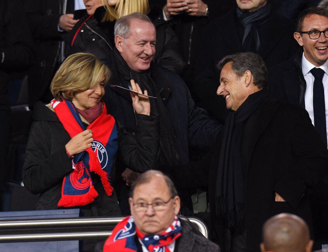 Valérie Pécresse et Nicolas Sarkozy - People lors du huitième de finale retour de Ligue des Champion, du Paris Saint-Germain contre le Real Madrid au Parc des Princes à Paris le 6 mars 2018.