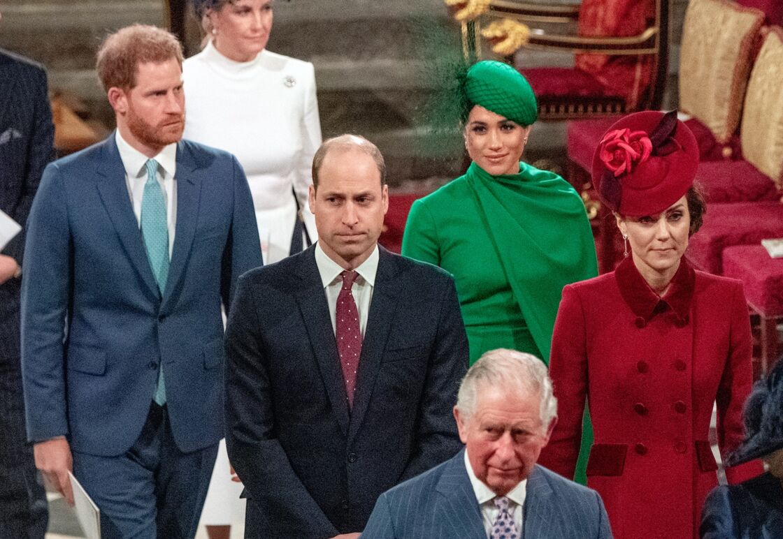 Kate, William, Meghan et Harry lors de la cérémonie du Commonwealth en l'abbaye de Westminster à Londres, le 9 mars 2020