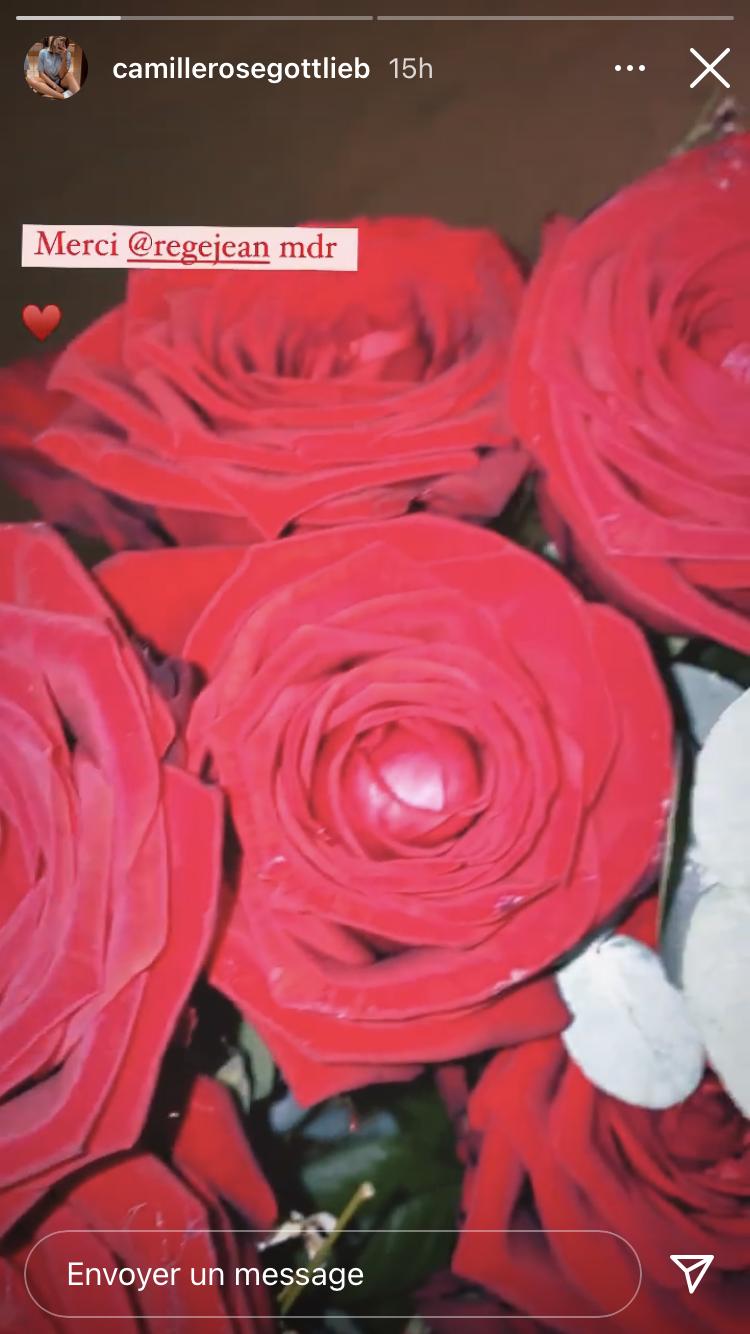 Camille Gottlieb poste la photo d'un bouquet de roses, dimanche 14 février 2021.