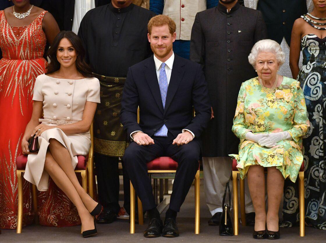 Le prince Harry, duc de Sussex, Meghan Markle, duchesse de Sussex, la reine Elisabeth II d'Angleterre - Personnalités à la cérémonie