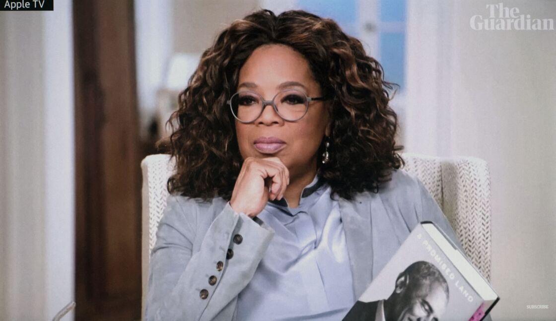 Oprah Winfrey interviewe Barack Obama pour Apple Tv+ à Washington le 17 novembre 2020.