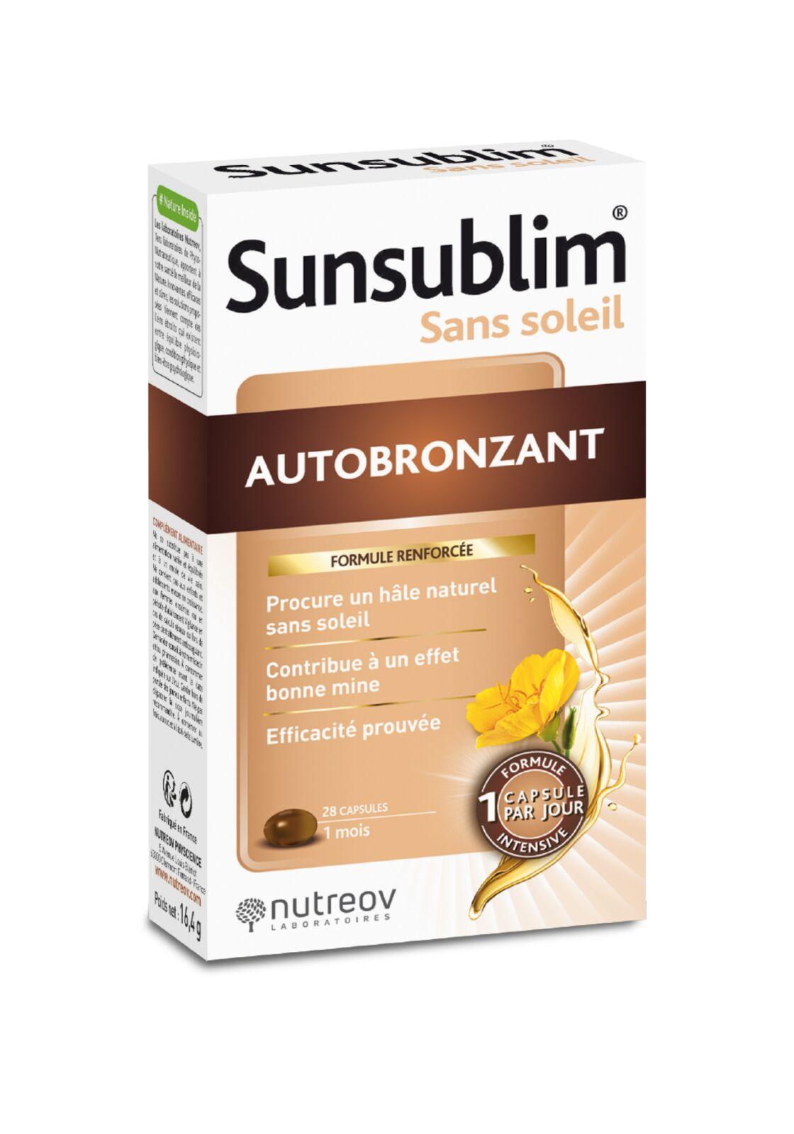 L'autobronzant Sunsublim des laboratoires Nutreov, 13 € la boîte de 28 gélules.
