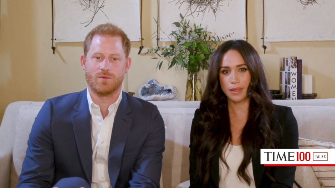 Le prince Harry, duc de Sussex, et Meghan Markle, duchesse de Sussex en interview pour l'émission Engineering A Better World TIME100, le 20 octobre 2020