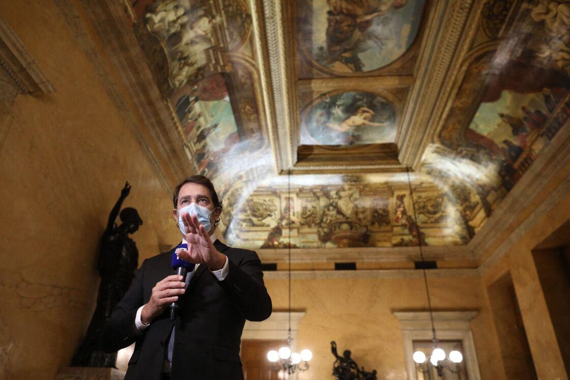 Christophe Castaner, président du groupe LREM à l'Assemblée Nationale - Examen en première lecture de la proposition de loi relative à la sécurité globale, vote de l'article 24, à l'assemblée nationale, à Paris, France, le 20 novembre 2020