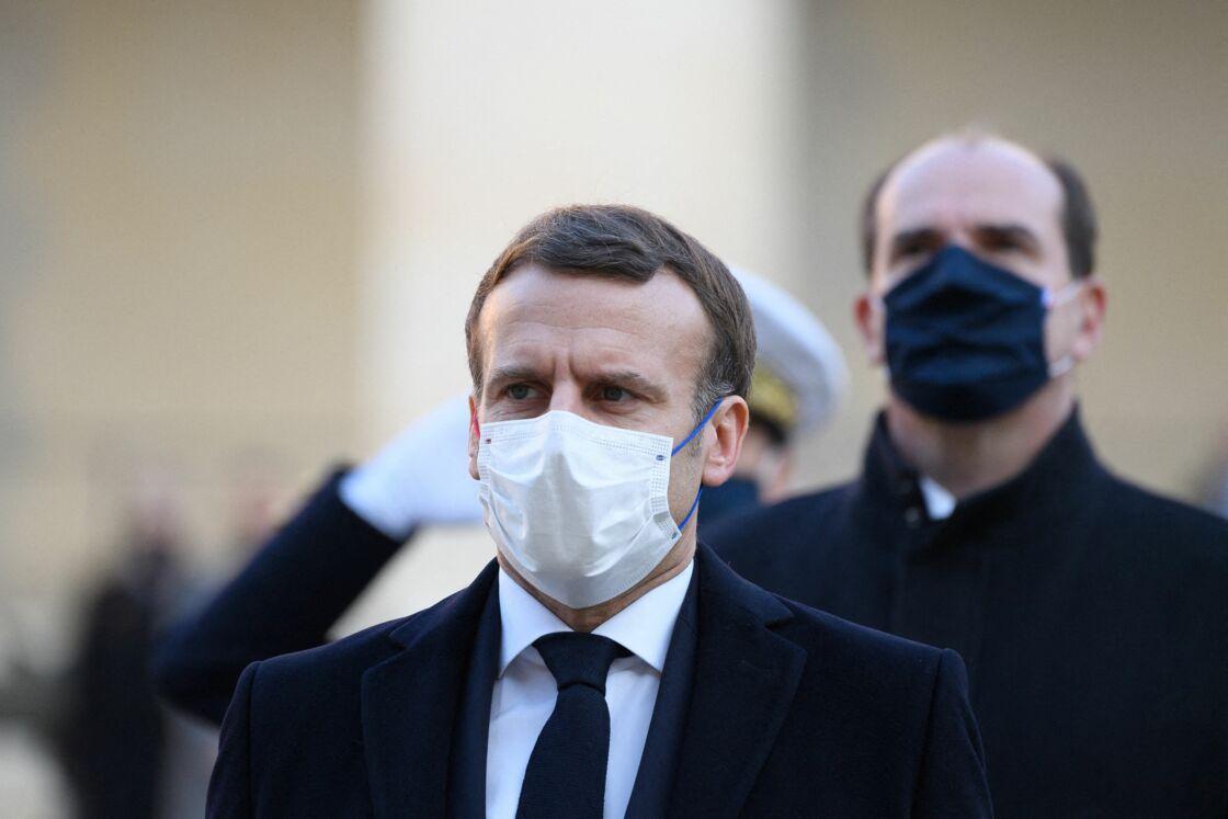 Le président Emmanuel Macron et le Premier ministre Minister Jean Castex. - Le président français Emmanuel Macron assiste à l'hommage national pour le résistant de la Seconde Guerre mondiale et