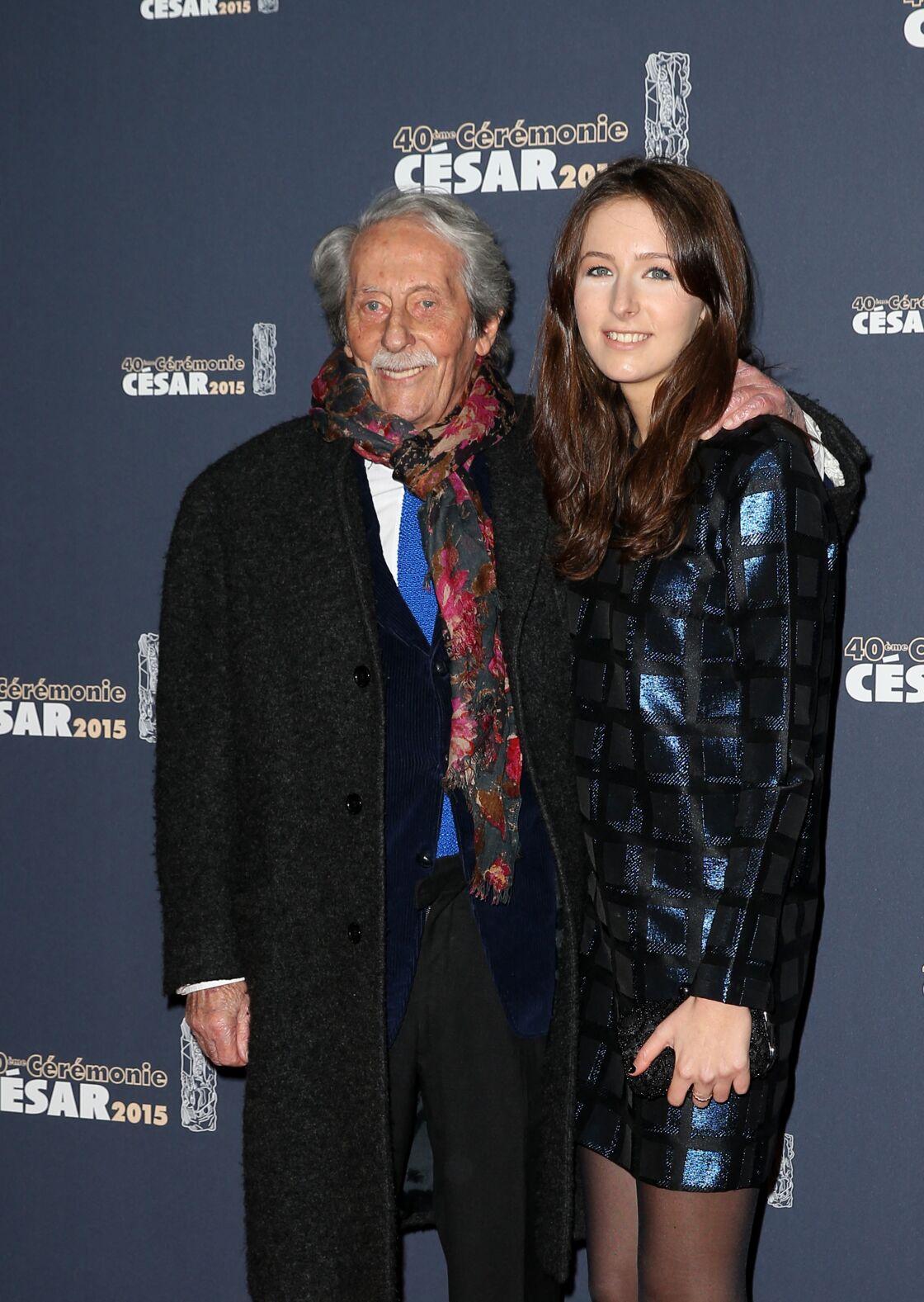 Jean Rochefort et sa fille Clémence - Photocall de la 40ème cérémonie des César au théâtre du Châtelet à Paris. Le 20 février 2015