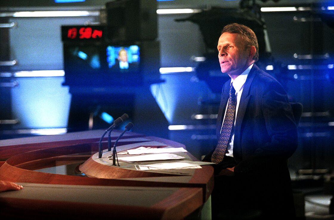 Patrick Poivre d'Arvor, le 11 avril 2001, quelques minutes avant journal de 20 heures sur TF1