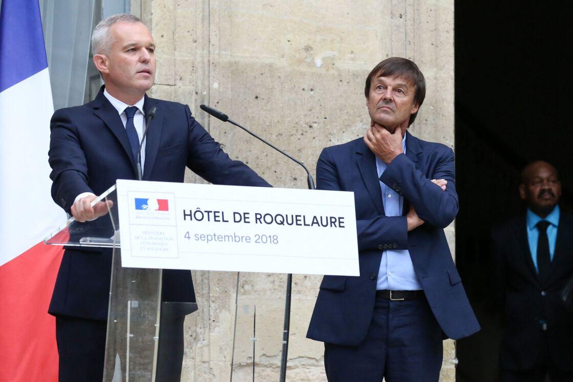 François de Rugy et Nicolas Hulot lors de la passation de pouvoir le 4 septembre 2018