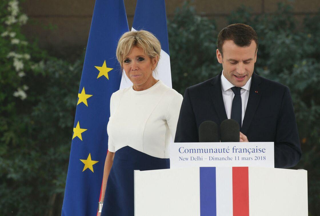 Brigitte et Emmanuel Macron à New Delhi, en Inde, le 11 mars 2018