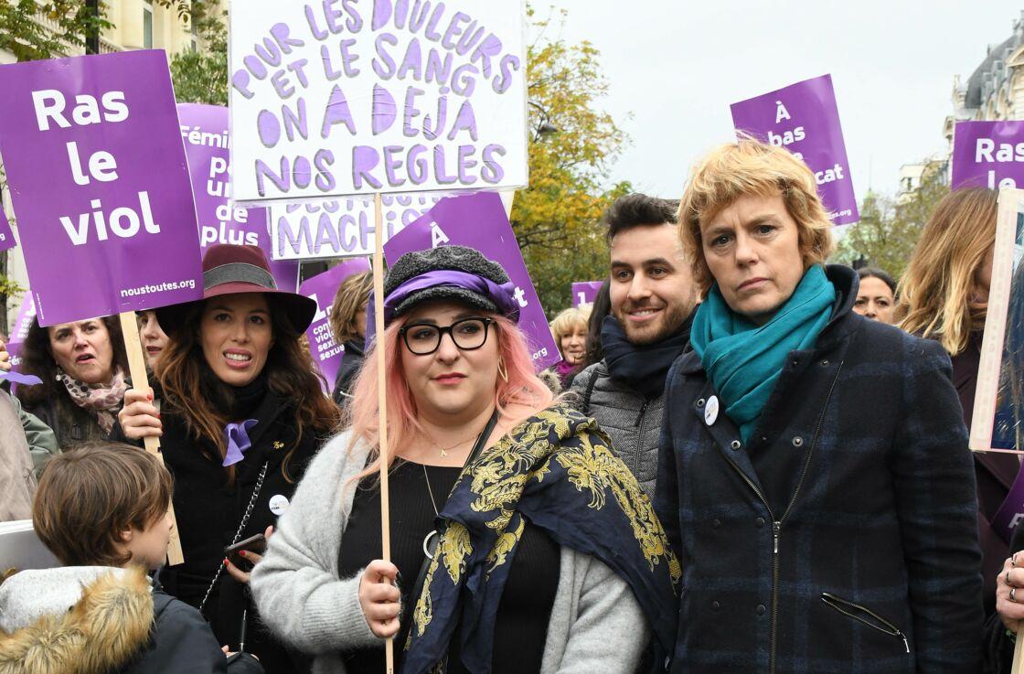 Marilou Berry et Anne Richard le 23 novembre 2019 à la marche contre les violences sexistes et sexuelles organisée par le collectif NousToutes