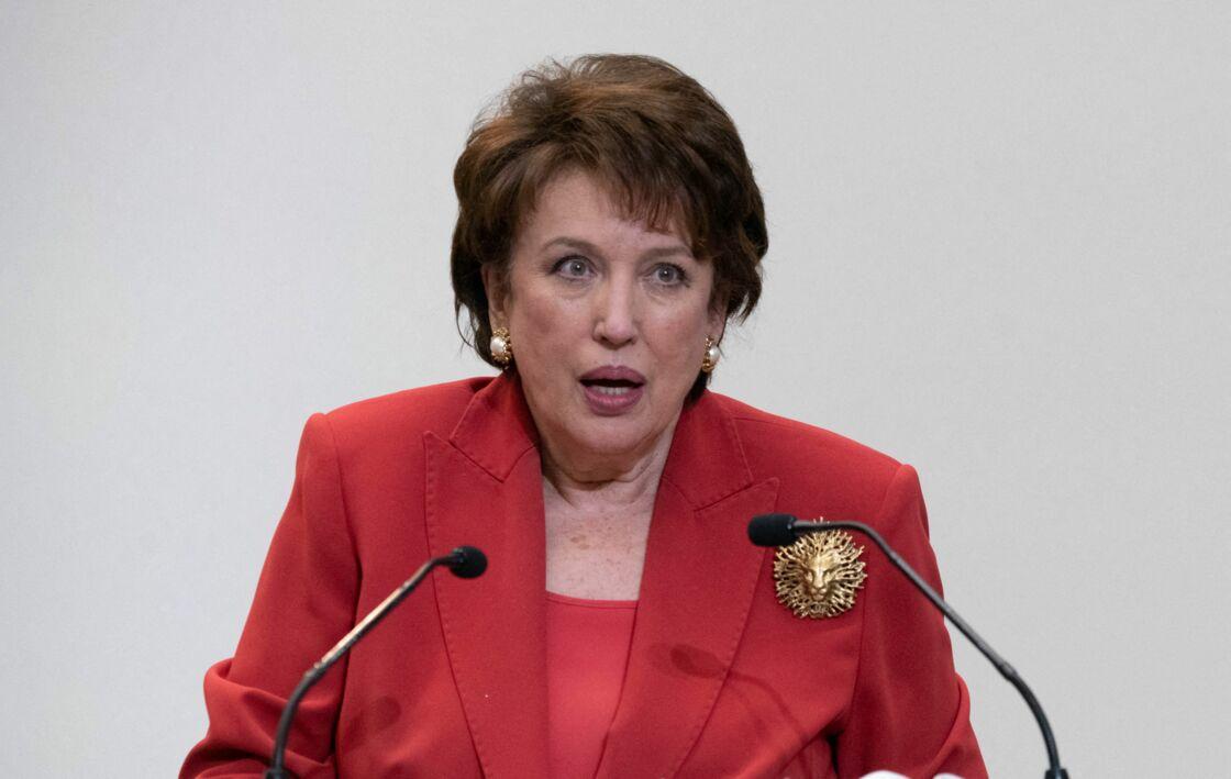 Roselyne Bachelot le 14 janvier 2021 lors de la conférence de presse sur la mise en place de moyens de lutte contre l'épidémie de la Covid-19