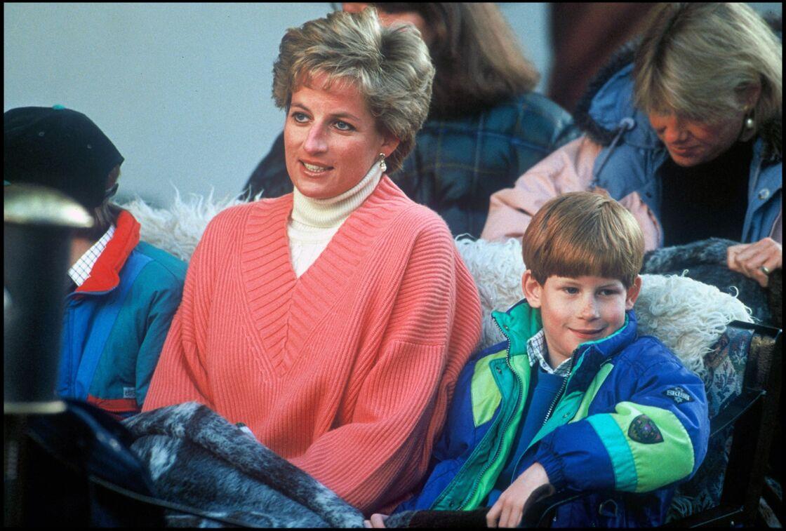 Lady Diana et le prince Harry le 27 mars 1994 à Lech