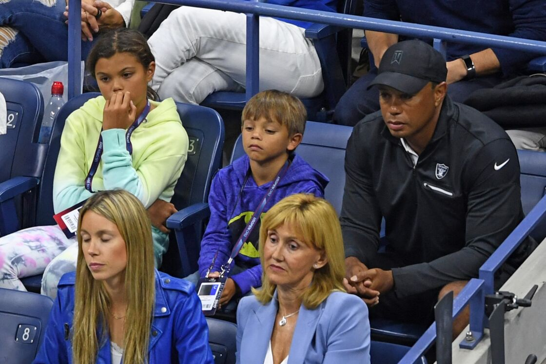 Tiger Woods et ses enfants à l'US Open en septembre 2017