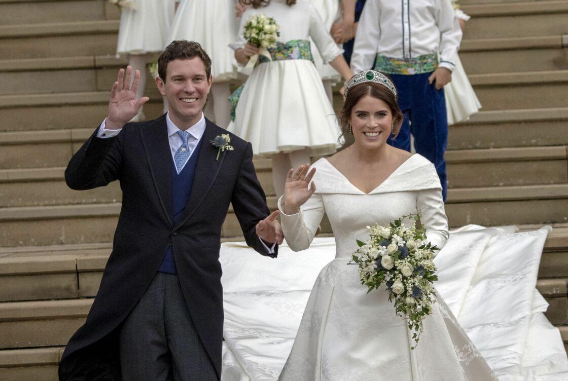 Jack Brooksbank et la princesse Eugenie le jour de leur mariage le 12 octobre 2018 au château de Windsor