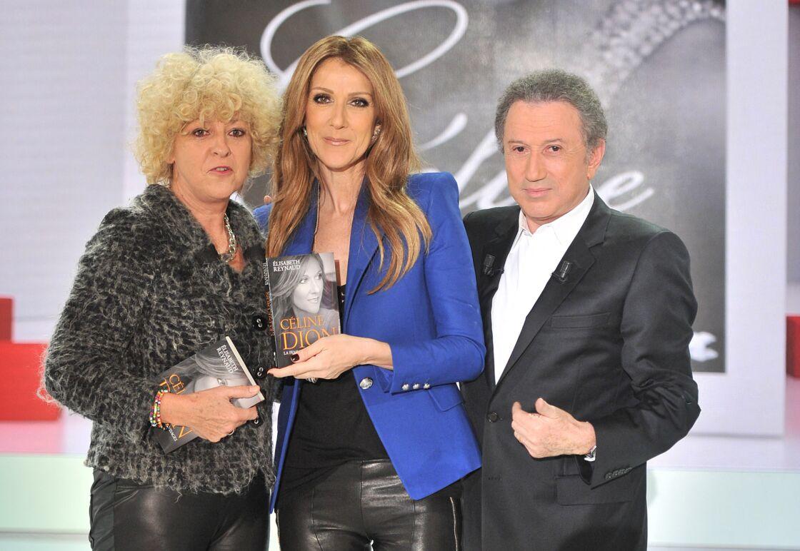 Elisabeth Reynaud, Celine Dion et Michel Drucker - Celine Dion chante lors de l'enregistrement de l'emission