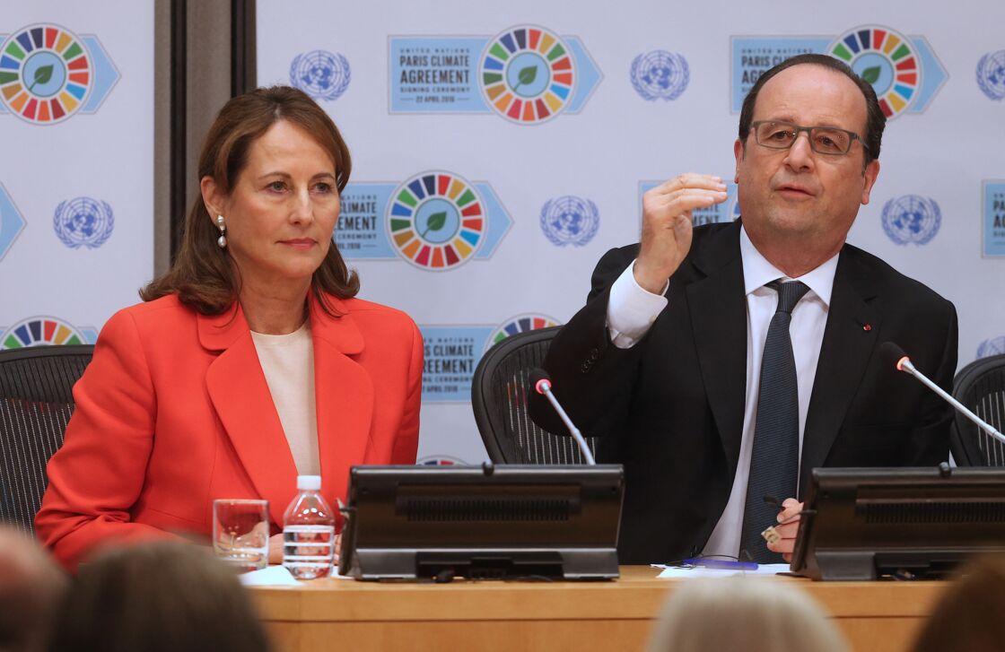 Ségolène Royal et François Hollande en conférence de Presse à New-York, le 22 avril 2016
