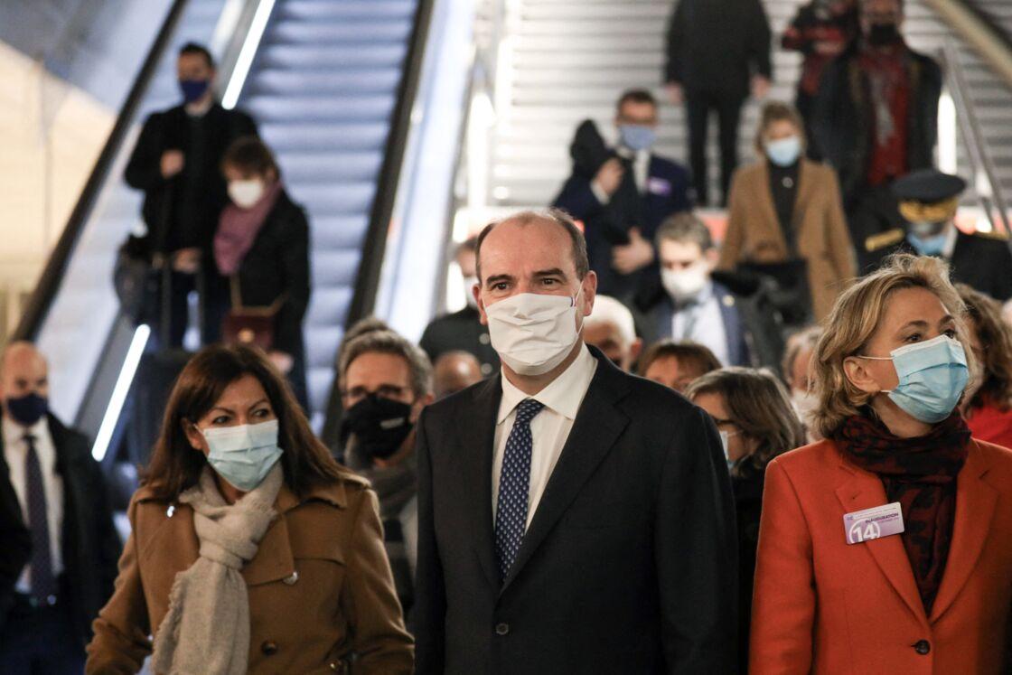 Anne Hidalgo, Jean Castex et Valérie Pécresse à l'inauguration de l'extension de la ligne 14 du métro le 14 décembre 2020