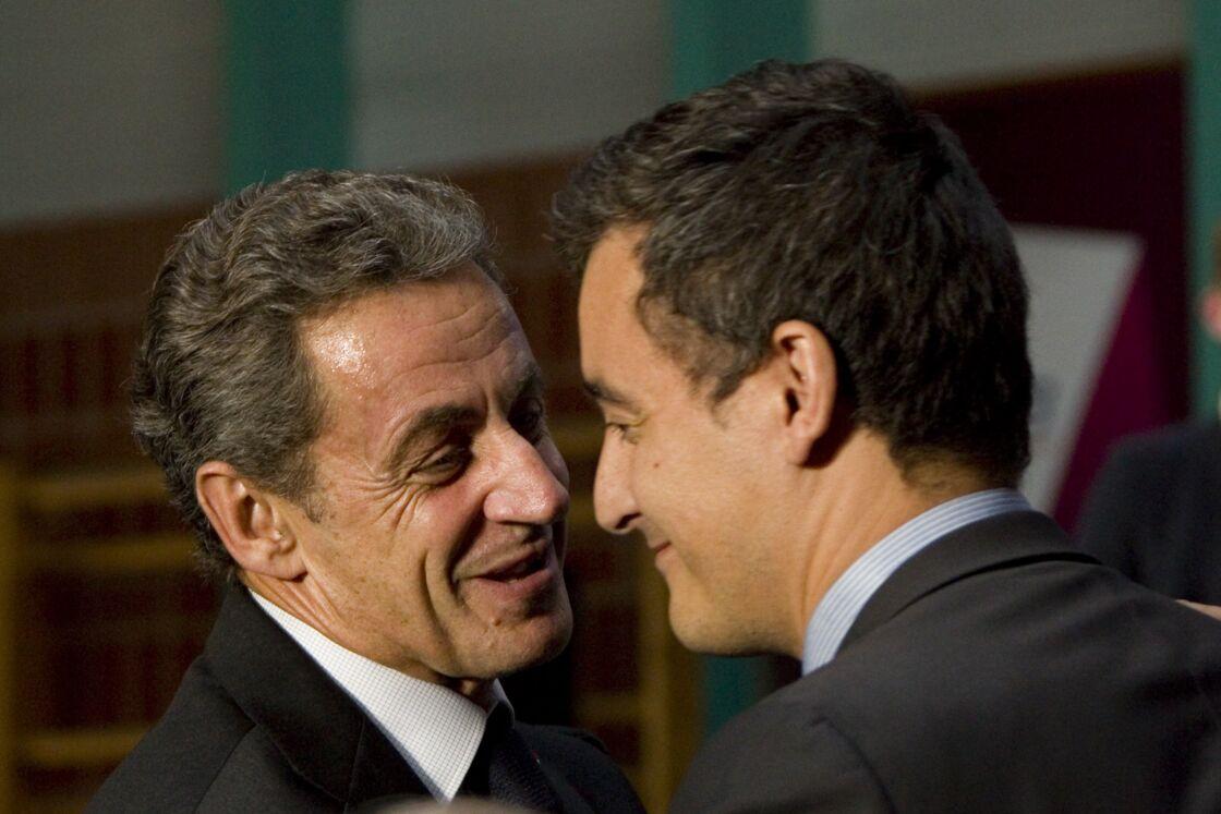 Nicolas Sarkozy et Gérald Darmanin lors d'un meeting à Marcq-en-Barœul le 22 septembre 2016