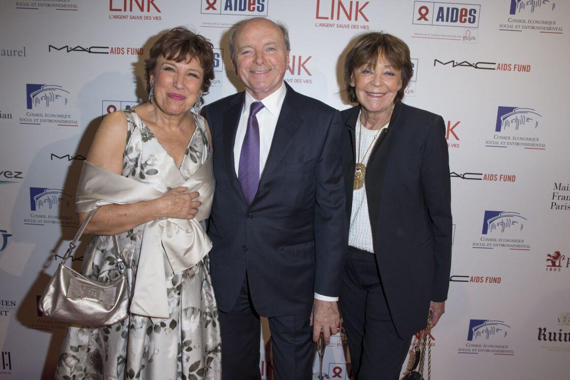 Roselyne Bachelot, Jacques et Lise Toubon, au dîner LINK pour les 30 ans de AIDES au Palais d'Iéna à Paris le 8 décembre 2014.