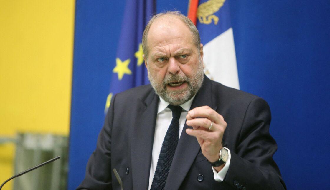 Déplacement du Garde des Sceaux et ministre de la Justice, Eric Dupond-Moretti au centre pénitentiaire du sud-francilien à Réau, France, le 16 février 2021.