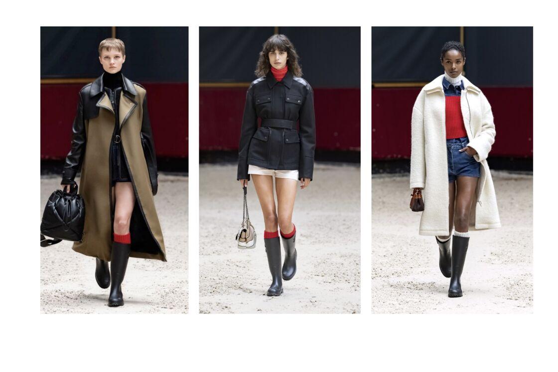 L'hiver prochain, la femme Longchamp ose le mini-sh.ort associé à des bottes de pluie et des chaussettes montantes.