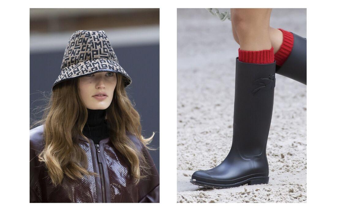 Le bob et les bottes de pluie, des accessoires, inspirés du monde équestre pour le défilé Longchamp Automne-hiver 2021/2022