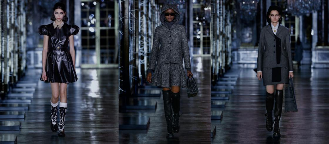 En cuissardes ou boots, la chaussure de montagne donne de l'allure aux silhouettes du défilé automne-hiver 2021-2022 de Dior.