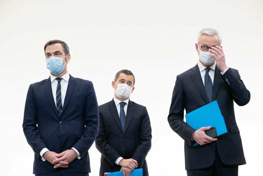 Olivier Véran, Gérald Darmanin et Bruno Le Maire en conférence de presse le 15 octobre 2020